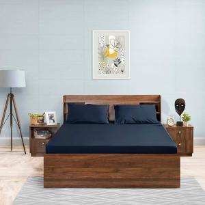 Navy blue cotton bedsheet
