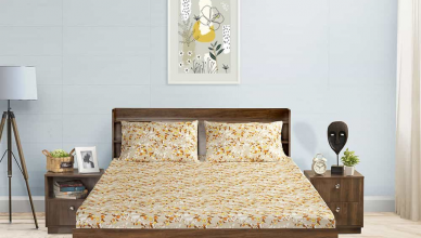 Periwinkle cotton bed sheet design