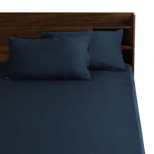 Navy cotton simple bed sheet wakefit